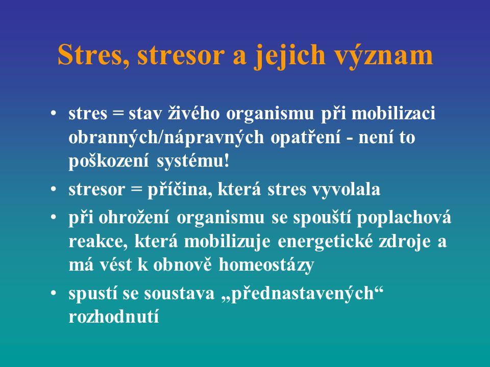 Stres, stresor a jejich význam stres = stav živého organismu při mobilizaci obranných/nápravných opatření - není to poškození systému! stresor = příči