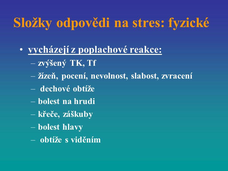 Složky odpovědi na stres: fyzické vycházejí z poplachové reakce: –zvýšený TK, Tf –žízeň, pocení, nevolnost, slabost, zvracení – dechové obtíže –bolest