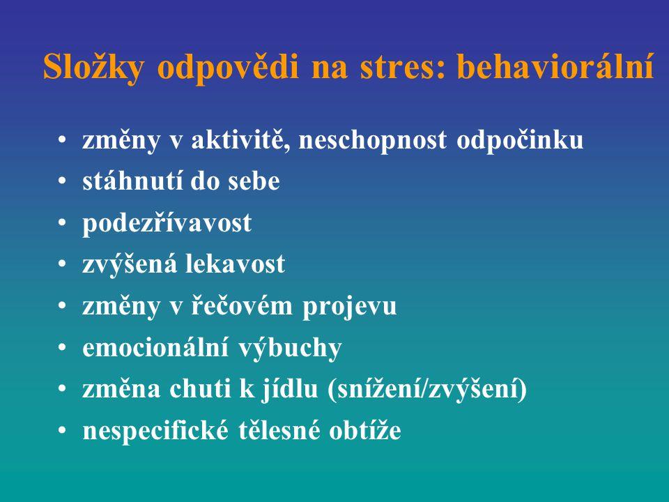 Složky odpovědi na stres: behaviorální změny v aktivitě, neschopnost odpočinku stáhnutí do sebe podezřívavost zvýšená lekavost změny v řečovém projevu
