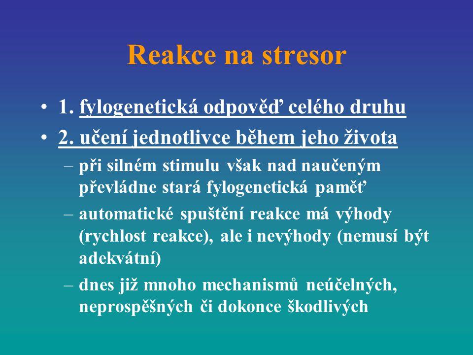 Reakce na stresor 1. fylogenetická odpověď celého druhu 2. učení jednotlivce během jeho života –při silném stimulu však nad naučeným převládne stará f
