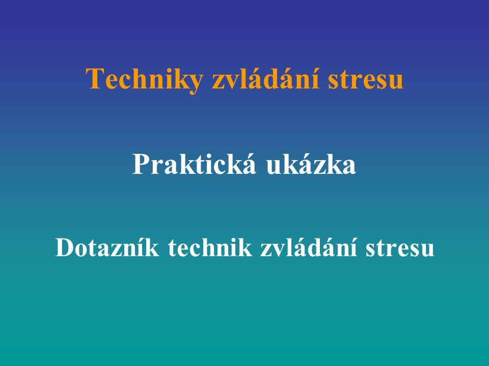 Techniky zvládání stresu Praktická ukázka Dotazník technik zvládání stresu