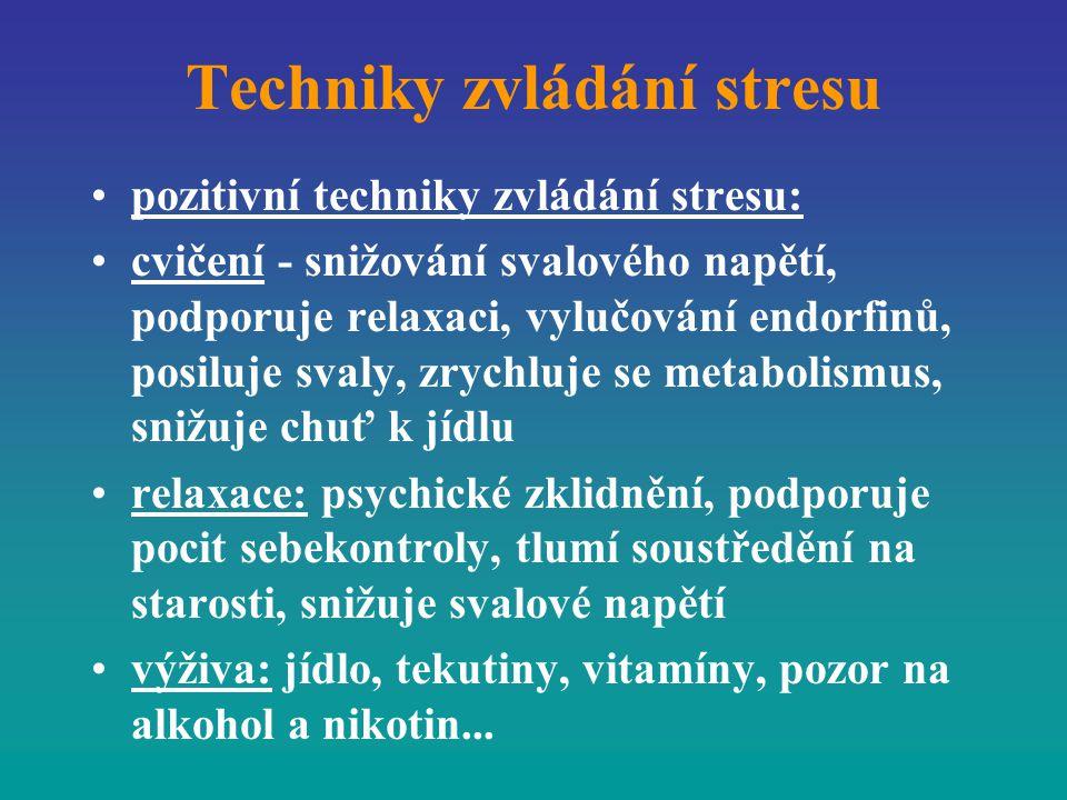 Techniky zvládání stresu pozitivní techniky zvládání stresu: cvičení - snižování svalového napětí, podporuje relaxaci, vylučování endorfinů, posiluje