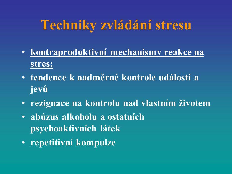Techniky zvládání stresu kontraproduktivní mechanismy reakce na stres: tendence k nadměrné kontrole událostí a jevů rezignace na kontrolu nad vlastním