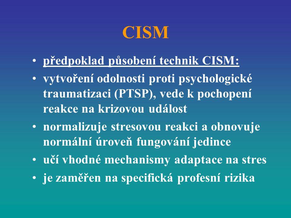 CISM předpoklad působení technik CISM: vytvoření odolnosti proti psychologické traumatizaci (PTSP), vede k pochopení reakce na krizovou událost normal