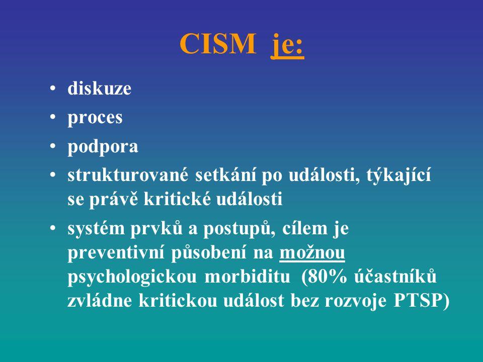 CISM je: diskuze proces podpora strukturované setkání po události, týkající se právě kritické události systém prvků a postupů, cílem je preventivní pů
