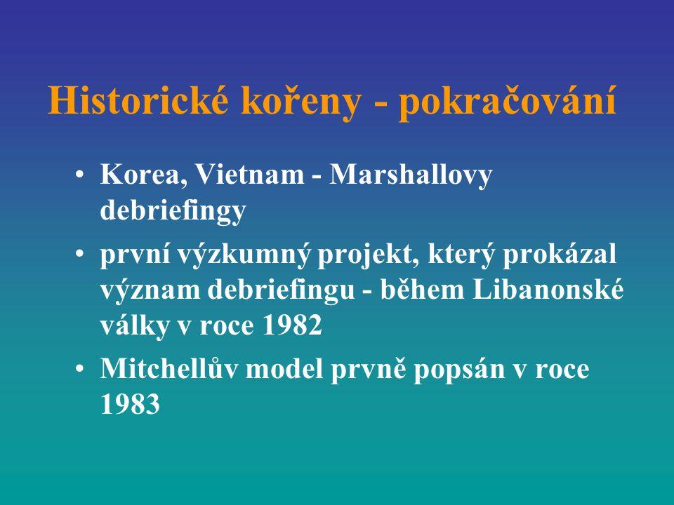 Historické kořeny - pokračování Korea, Vietnam - Marshallovy debriefingy první výzkumný projekt, který prokázal význam debriefingu - během Libanonské
