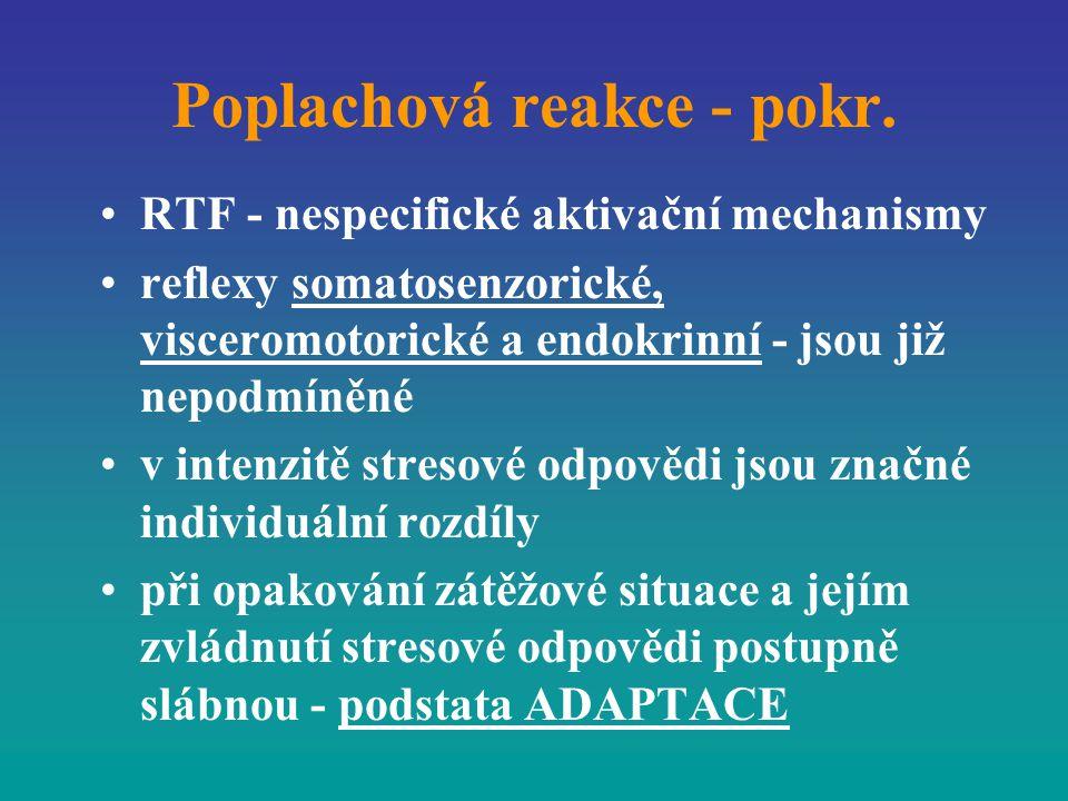 Poplachová reakce - pokr. RTF - nespecifické aktivační mechanismy reflexy somatosenzorické, visceromotorické a endokrinní - jsou již nepodmíněné v int