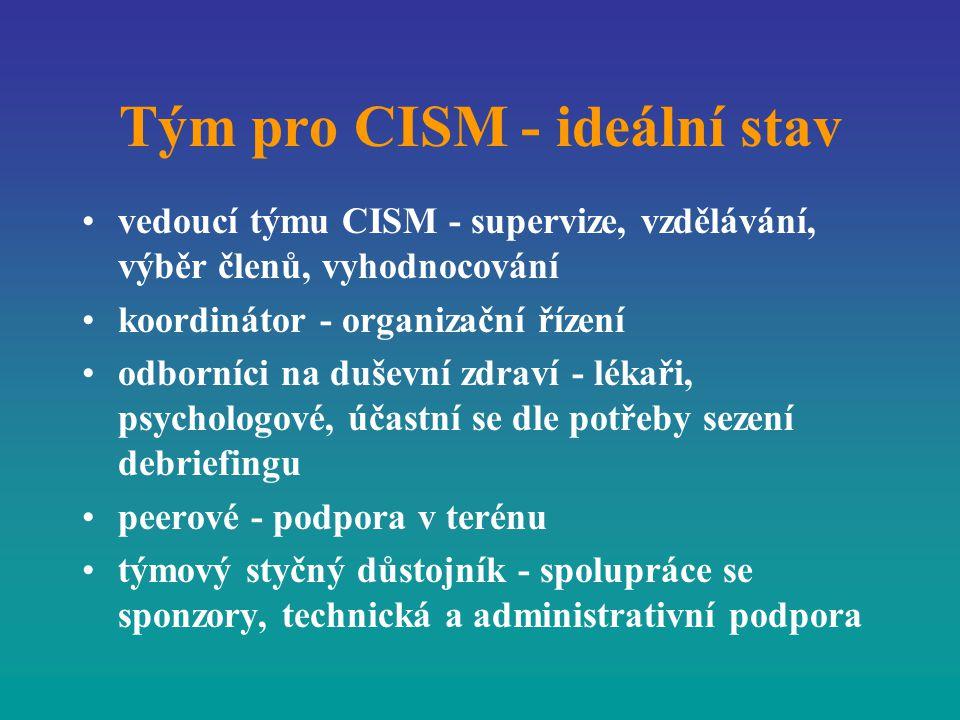 Tým pro CISM - ideální stav vedoucí týmu CISM - supervize, vzdělávání, výběr členů, vyhodnocování koordinátor - organizační řízení odborníci na duševn