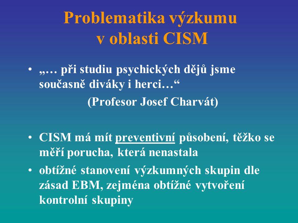 """Problematika výzkumu v oblasti CISM """"… při studiu psychických dějů jsme současně diváky i herci…"""" (Profesor Josef Charvát) CISM má mít preventivní půs"""