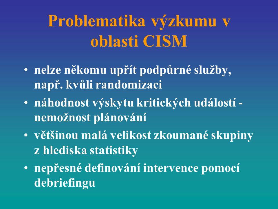 Problematika výzkumu v oblasti CISM nelze někomu upřít podpůrné služby, např. kvůli randomizaci náhodnost výskytu kritických událostí - nemožnost plán