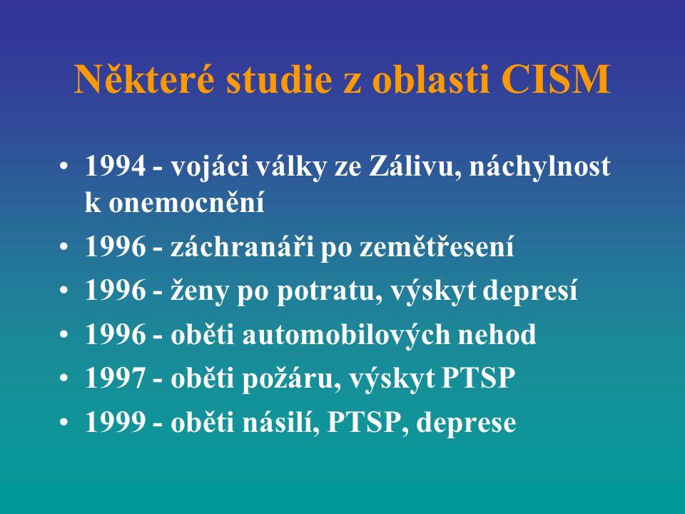 Některé studie z oblasti CISM 1994 - vojáci války ze Zálivu, náchylnost k onemocnění 1996 - záchranáři po zemětřesení 1996 - ženy po potratu, výskyt d