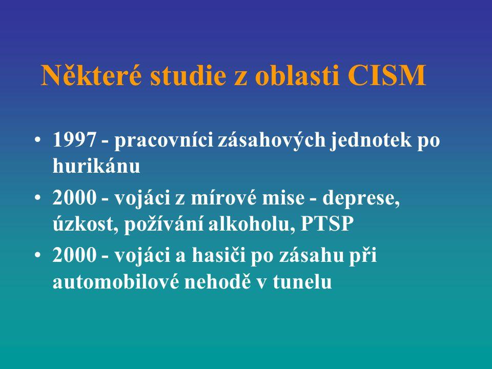 Některé studie z oblasti CISM 1997 - pracovníci zásahových jednotek po hurikánu 2000 - vojáci z mírové mise - deprese, úzkost, požívání alkoholu, PTSP