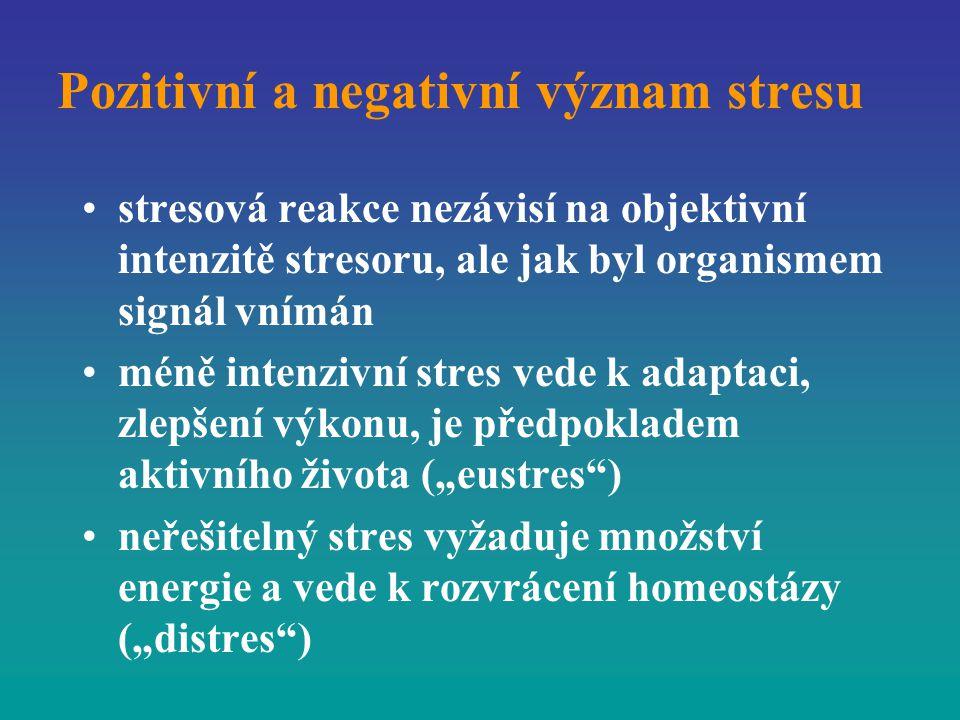 Pozitivní a negativní význam stresu stresová reakce nezávisí na objektivní intenzitě stresoru, ale jak byl organismem signál vnímán méně intenzivní st