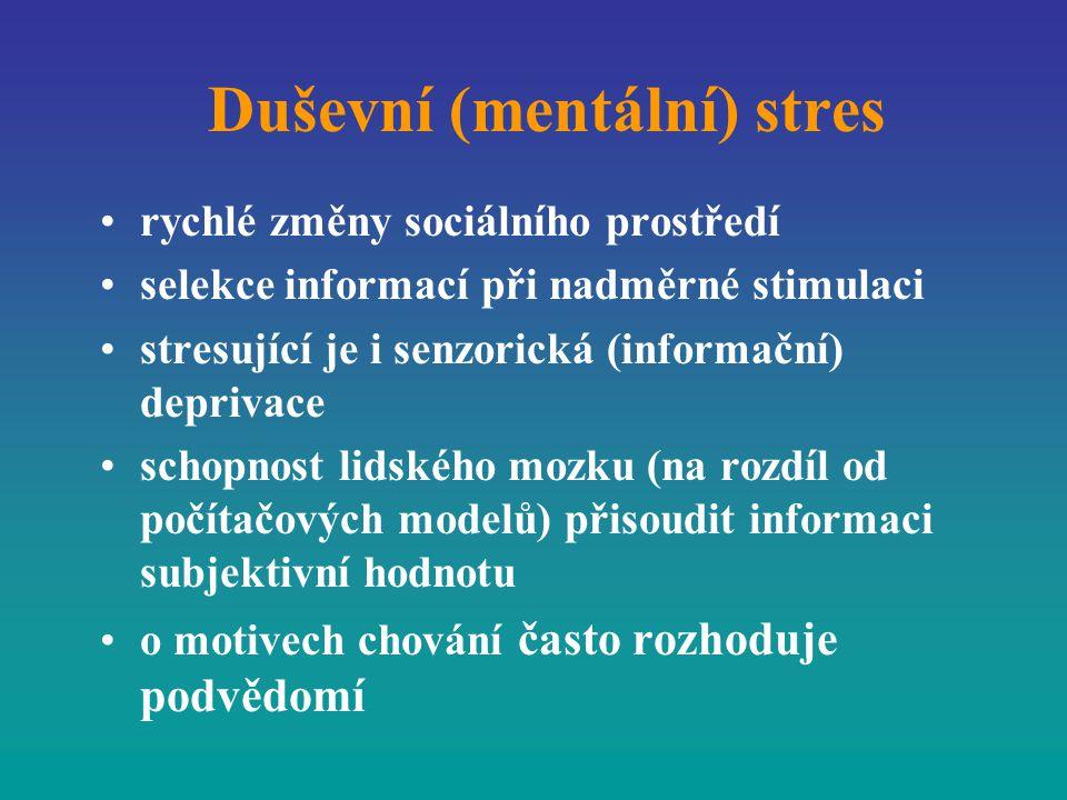 Duševní (mentální) stres rychlé změny sociálního prostředí selekce informací při nadměrné stimulaci stresující je i senzorická (informační) deprivace