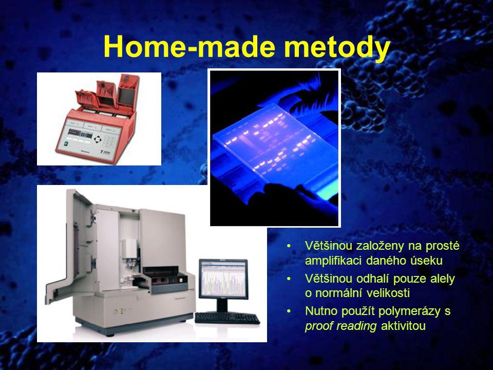 Home-made metody Většinou založeny na prosté amplifikaci daného úseku Většinou odhalí pouze alely o normální velikosti Nutno použít polymerázy s proof