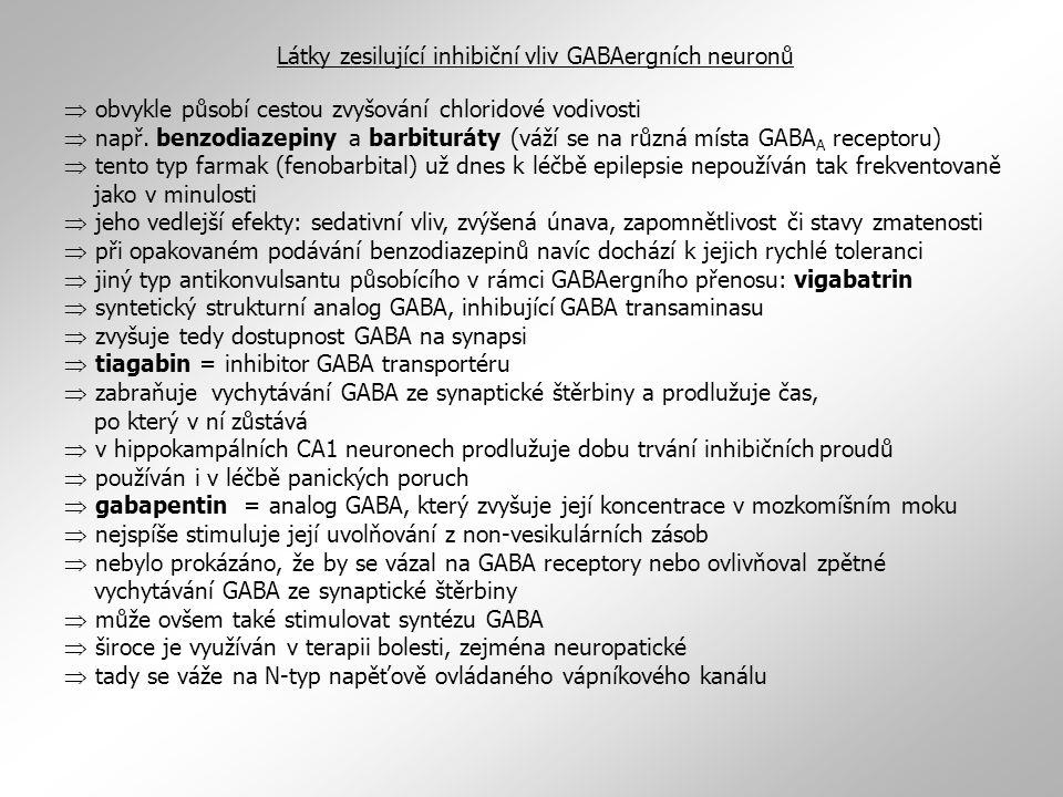  obvykle působí cestou zvyšování chloridové vodivosti  např. benzodiazepiny a barbituráty (váží se na různá místa GABA A receptoru)  tento typ farm