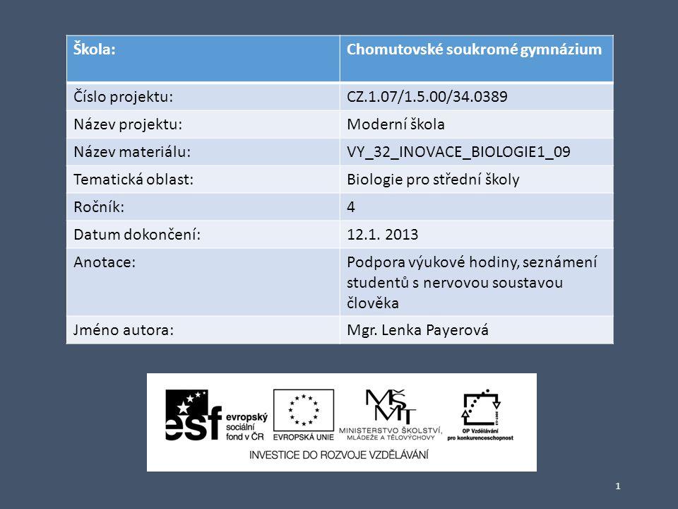 1 Škola:Chomutovské soukromé gymnázium Číslo projektu:CZ.1.07/1.5.00/34.0389 Název projektu:Moderní škola Název materiálu:VY_32_INOVACE_BIOLOGIE1_09 T