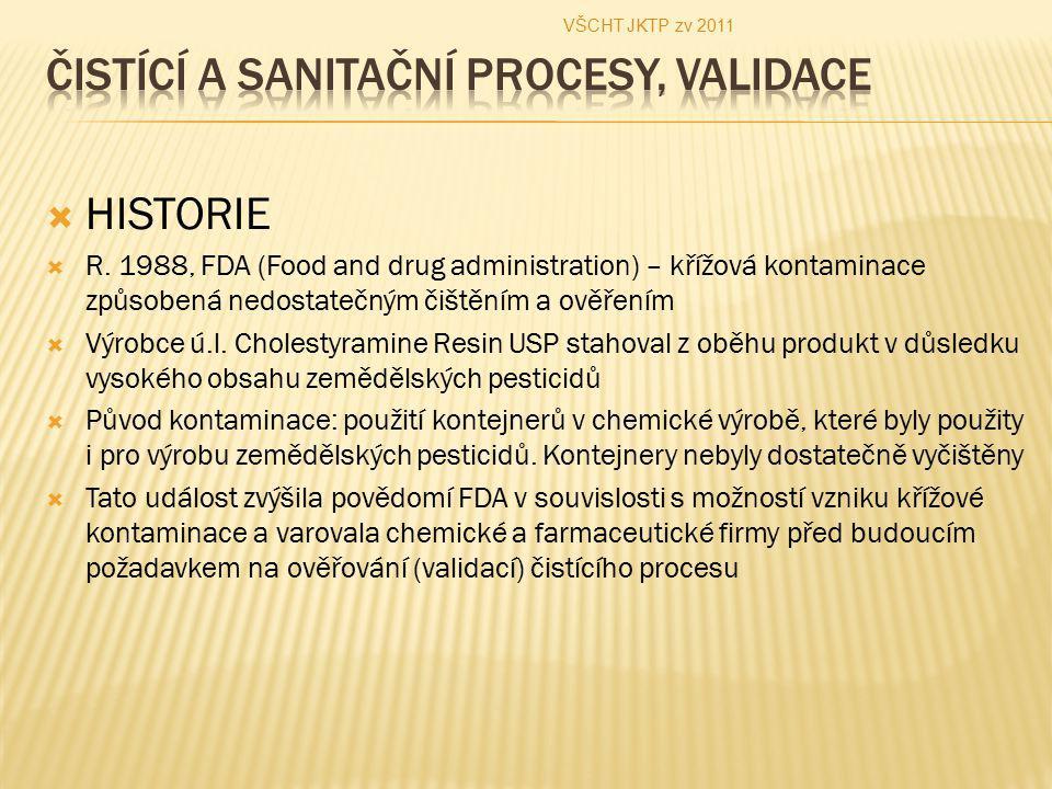  HISTORIE  R. 1988, FDA (Food and drug administration) – křížová kontaminace způsobená nedostatečným čištěním a ověřením  Výrobce ú.l. Cholestyrami