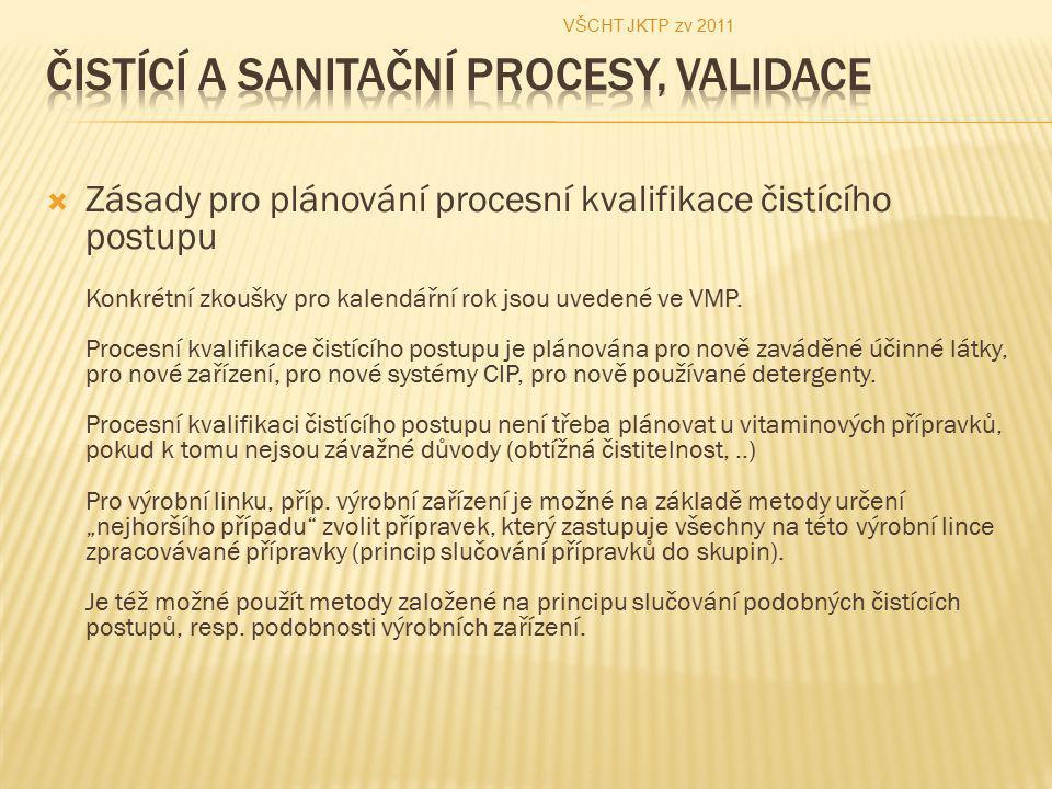  Zásady pro plánování procesní kvalifikace čistícího postupu Konkrétní zkoušky pro kalendářní rok jsou uvedené ve VMP. Procesní kvalifikace čistícího