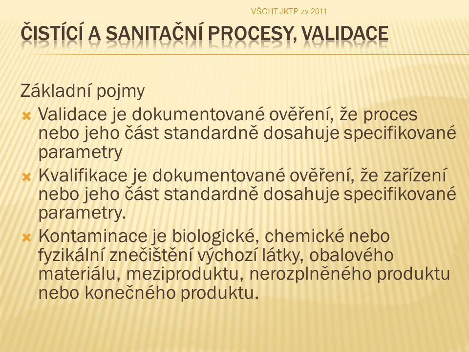 Základní pojmy  Validace je dokumentované ověření, že proces nebo jeho část standardně dosahuje specifikované parametry  Kvalifikace je dokumentovan