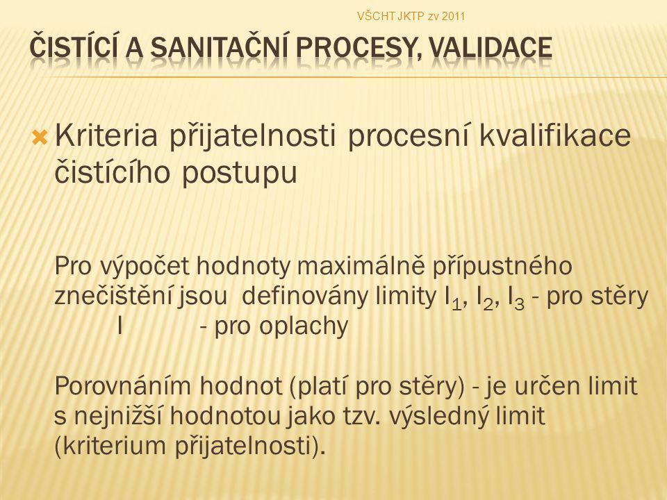  Kriteria přijatelnosti procesní kvalifikace čistícího postupu Pro výpočet hodnoty maximálně přípustného znečištění jsou definovány limity I 1, I 2,