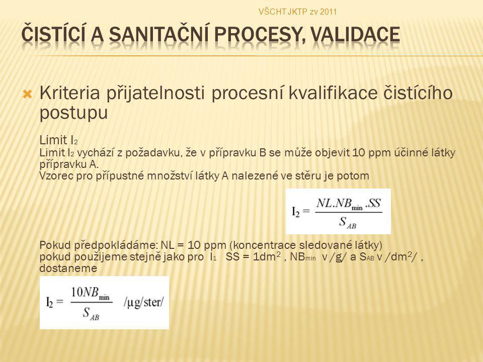  Kriteria přijatelnosti procesní kvalifikace čistícího postupu Limit I 2 Limit I 2 vychází z požadavku, že v přípravku B se může objevit 10 ppm účinn