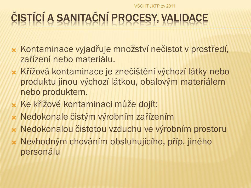  Kontaminace vyjadřuje množství nečistot v prostředí, zařízení nebo materiálu.