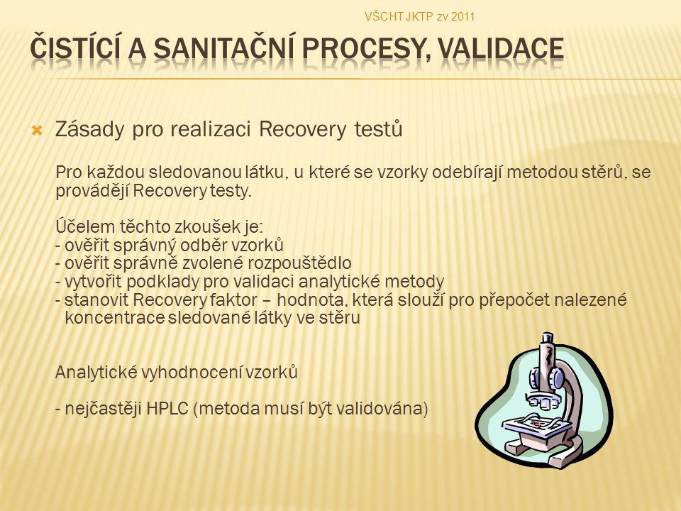  Zásady pro realizaci Recovery testů Pro každou sledovanou látku, u které se vzorky odebírají metodou stěrů, se provádějí Recovery testy. Účelem těch
