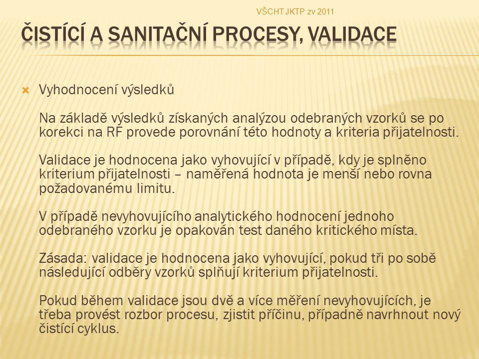 Vyhodnocení výsledků Na základě výsledků získaných analýzou odebraných vzorků se po korekci na RF provede porovnání této hodnoty a kriteria přijatelnosti.