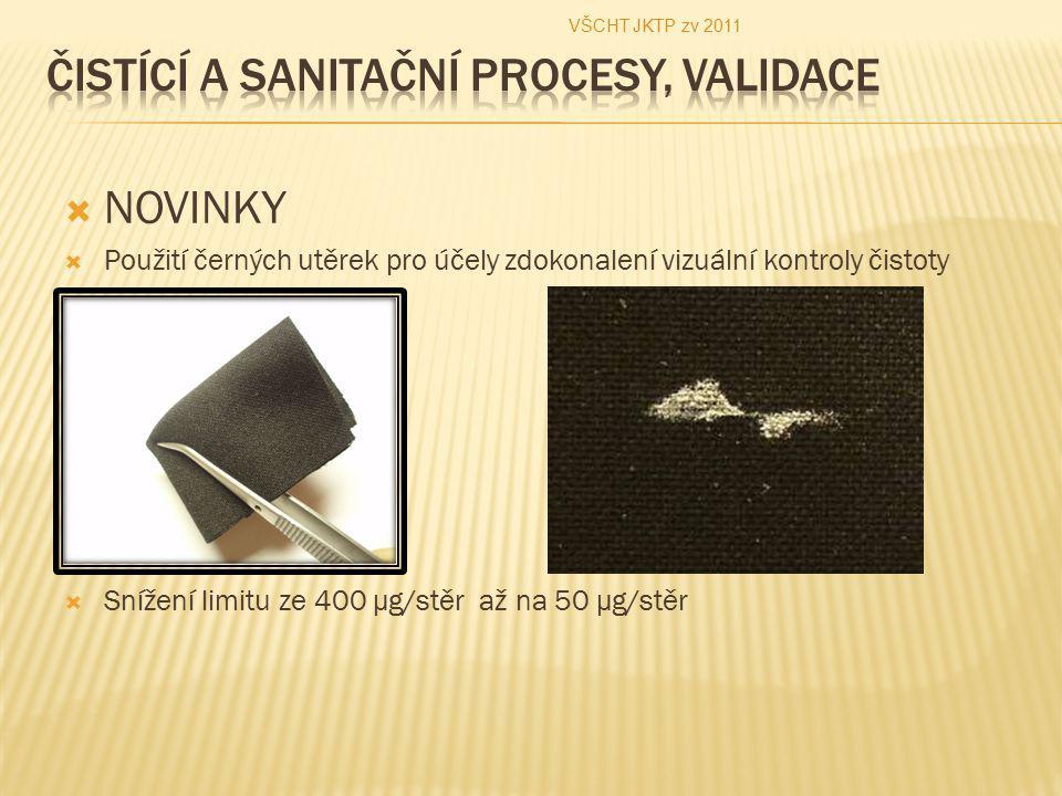  NOVINKY  Použití černých utěrek pro účely zdokonalení vizuální kontroly čistoty  Snížení limitu ze 400 µg/stěr až na 50 µg/stěr VŠCHT JKTP zv 2011