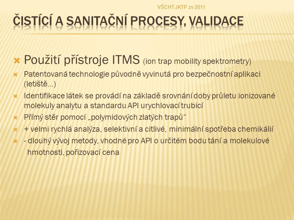""" Použití přístroje ITMS (ion trap mobility spektrometry)  Patentovaná technologie původně vyvinutá pro bezpečnostní aplikaci (letiště…)  Identifikace látek se provádí na základě srovnání doby průletu ionizované molekuly analytu a standardu API urychlovací trubicí  Přímý stěr pomocí """"polymidových zlatých trapů  + velmi rychlá analýza, selektivní a citlivé, minimální spotřeba chemikálií  - dlouhý vývoj metody, vhodné pro API o určitém bodu tání a molekulové hmotnosti, pořizovací cena VŠCHT JKTP zv 2011"""