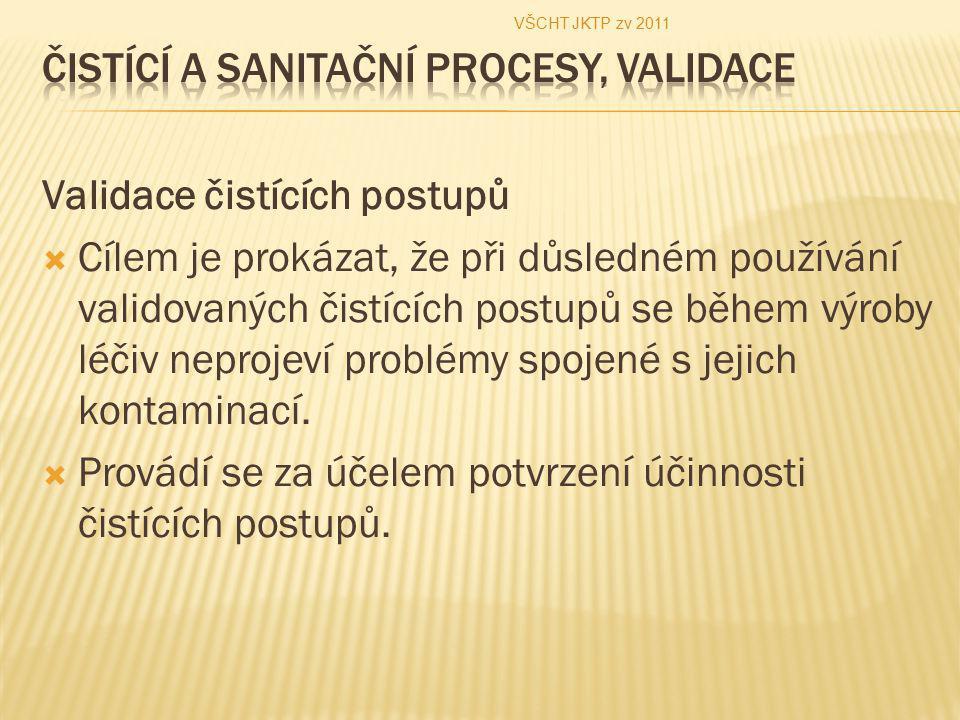 Validace čistících postupů  Cílem je prokázat, že při důsledném používání validovaných čistících postupů se během výroby léčiv neprojeví problémy spo