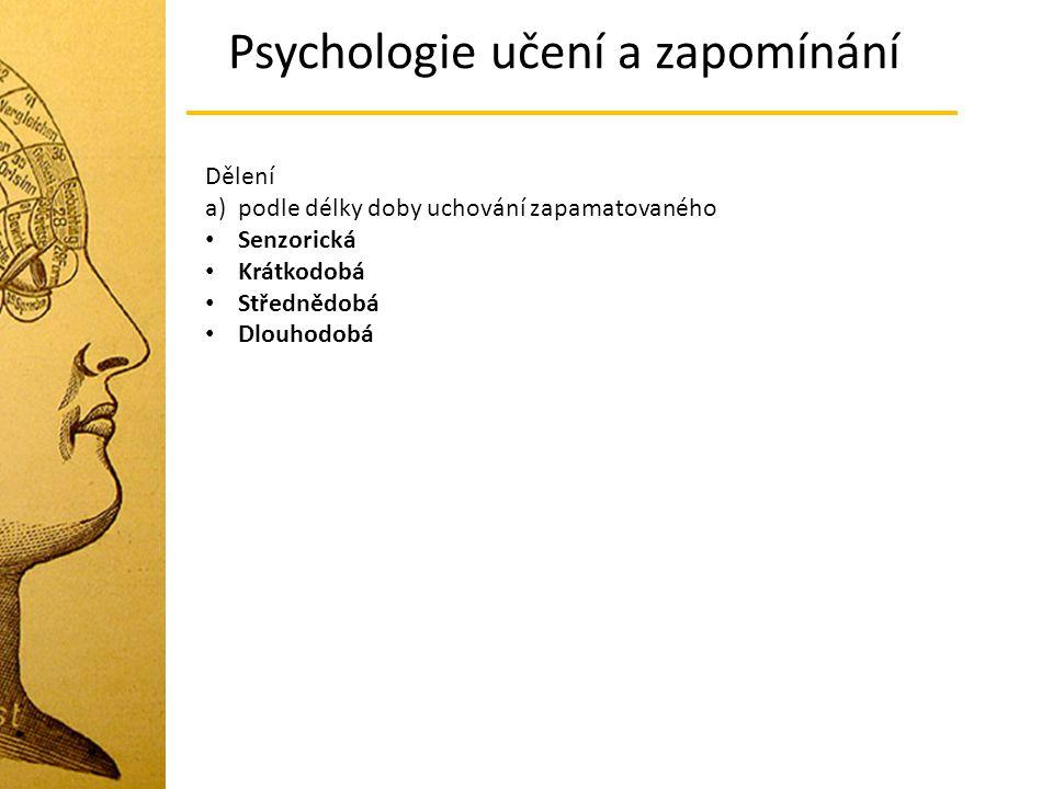Dělení a) podle délky doby uchování zapamatovaného Senzorická Krátkodobá Střednědobá Dlouhodobá Psychologie učení a zapomínání