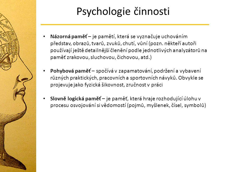 Psychologie činnosti Názorná paměť – je pamětí, která se vyznačuje uchováním představ, obrazů, tvarů, zvuků, chutí, vůní (pozn. někteří autoři používa