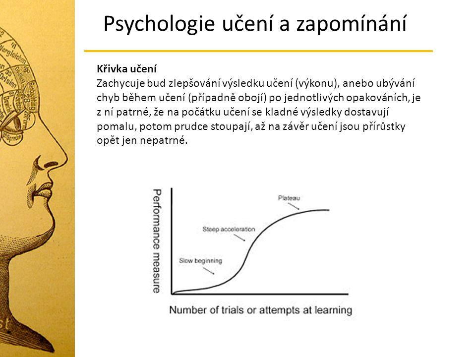 Křivka učení Zachycuje bud zlepšování výsledku učení (výkonu), anebo ubývání chyb během učení (případně obojí) po jednotlivých opakováních, je z ní patrné, že na počátku učení se kladné výsledky dostavují pomalu, potom prudce stoupají, až na závěr učení jsou přírůstky opět jen nepatrné.