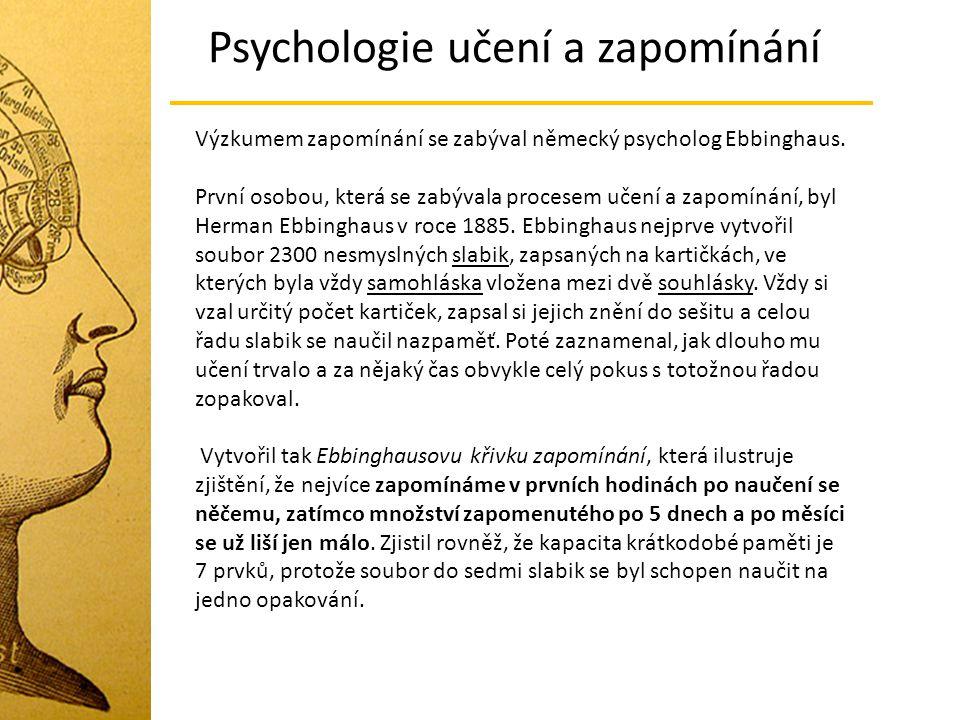 Výzkumem zapomínání se zabýval německý psycholog Ebbinghaus. První osobou, která se zabývala procesem učení a zapomínání, byl Herman Ebbinghaus v roce