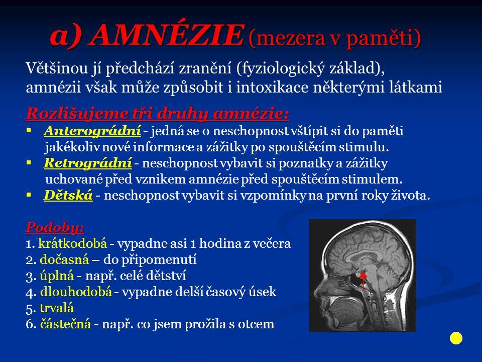 Většinou jí předchází zranění (fyziologický základ), amnézii však může způsobit i intoxikace některými látkami Rozlišujeme tři druhy amnézie:  Anterográdní - jedná se o neschopnost vštípit si do paměti jakékoliv nové informace a zážitky po spouštěcím stimulu.