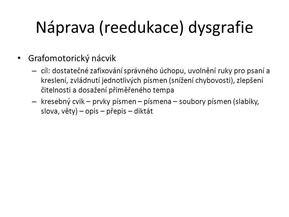Náprava (reedukace) dysgrafie Grafomotorický nácvik – cíl: dostatečné zafixování správného úchopu, uvolnění ruky pro psaní a kreslení, zvládnutí jedno