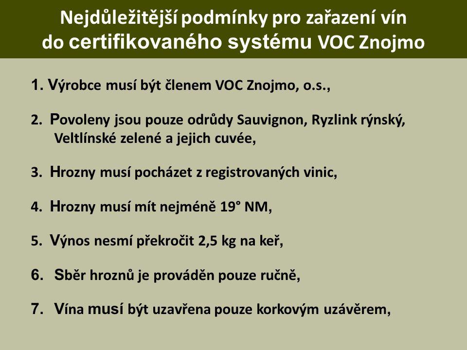 Nejdůležitější podmínky pro zařazení vín do certifikovaného systému VOC Znojmo 1. V ýrobce musí být členem VOC Znojmo, o.s., 2. P ovoleny jsou pouze o