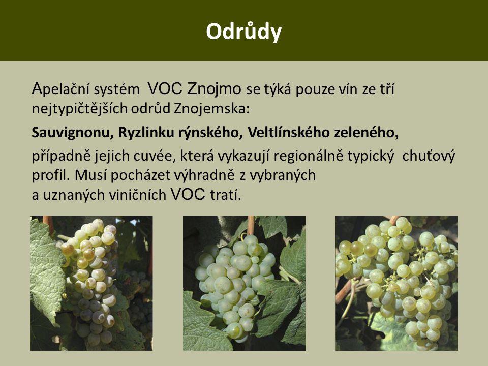 Odrůdy A pelační systém VOC Znojmo se týká pouze vín ze tří nejtypičtějších odrůd Znojemska: Sauvignonu, Ryzlinku rýnského, Veltlínského zeleného, pří