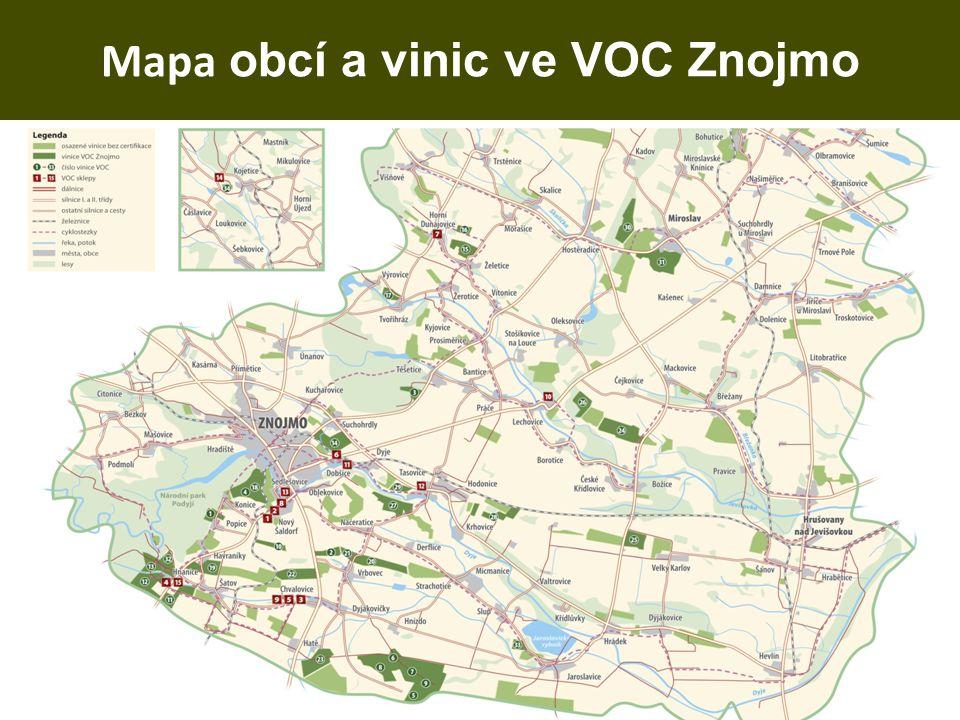 Mapa obcí a vinic ve VOC Znojmo