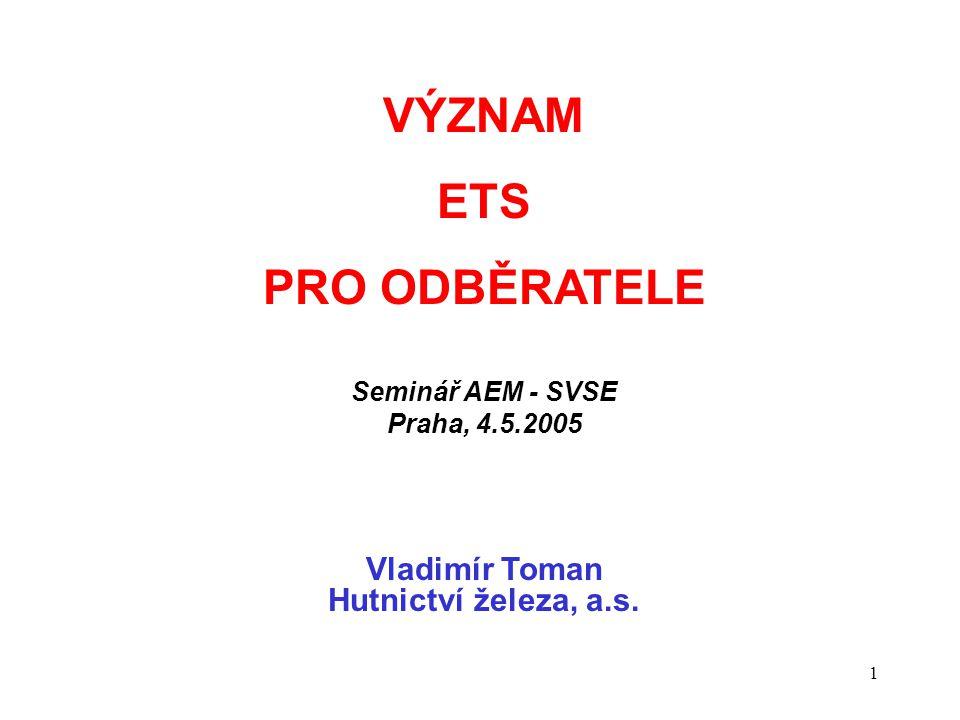 1 VÝZNAM ETS PRO ODBĚRATELE Seminář AEM - SVSE Praha, 4.5.2005 Vladimír Toman Hutnictví železa, a.s.
