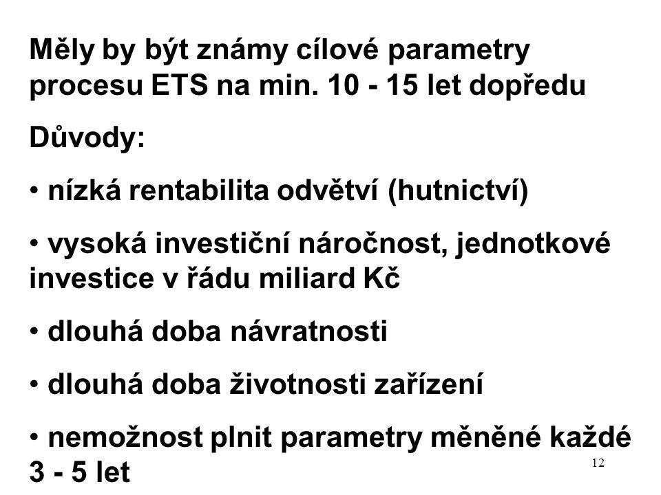 12 Měly by být známy cílové parametry procesu ETS na min. 10 - 15 let dopředu Důvody: nízká rentabilita odvětví (hutnictví) vysoká investiční náročnos