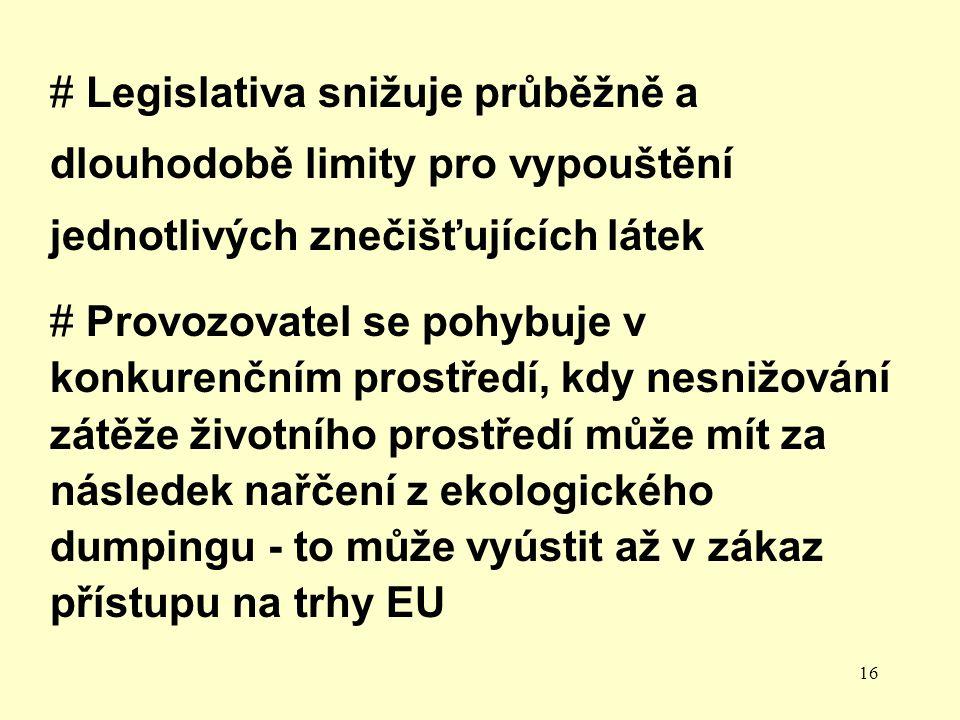 16 # Legislativa snižuje průběžně a dlouhodobě limity pro vypouštění jednotlivých znečišťujících látek # Provozovatel se pohybuje v konkurenčním prostředí, kdy nesnižování zátěže životního prostředí může mít za následek nařčení z ekologického dumpingu - to může vyústit až v zákaz přístupu na trhy EU