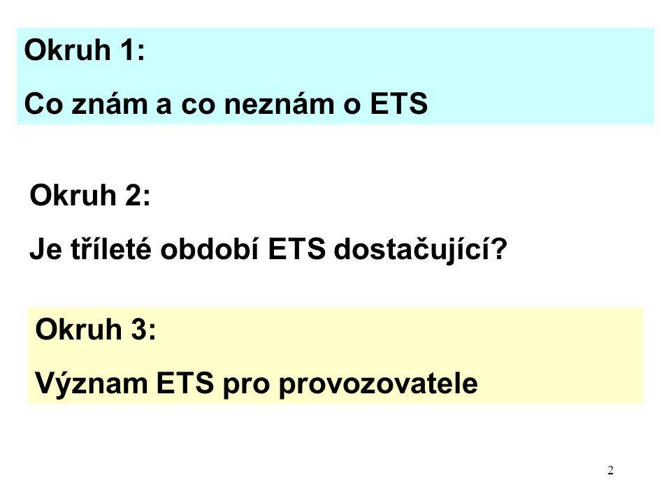 13 Okruh 3 - Význam ETS pro provozovatele Další byrokratická zátěž Zhoršuje konkurenceschopnost (zvýšení nákladů) Zajímavé, pokud dostanu nadbytek povolenek a mohu prodávat - získám zpět část již vynaložených prostředků na ekologii + prostředky na poplatky a u mne zvýšenou byrokracii