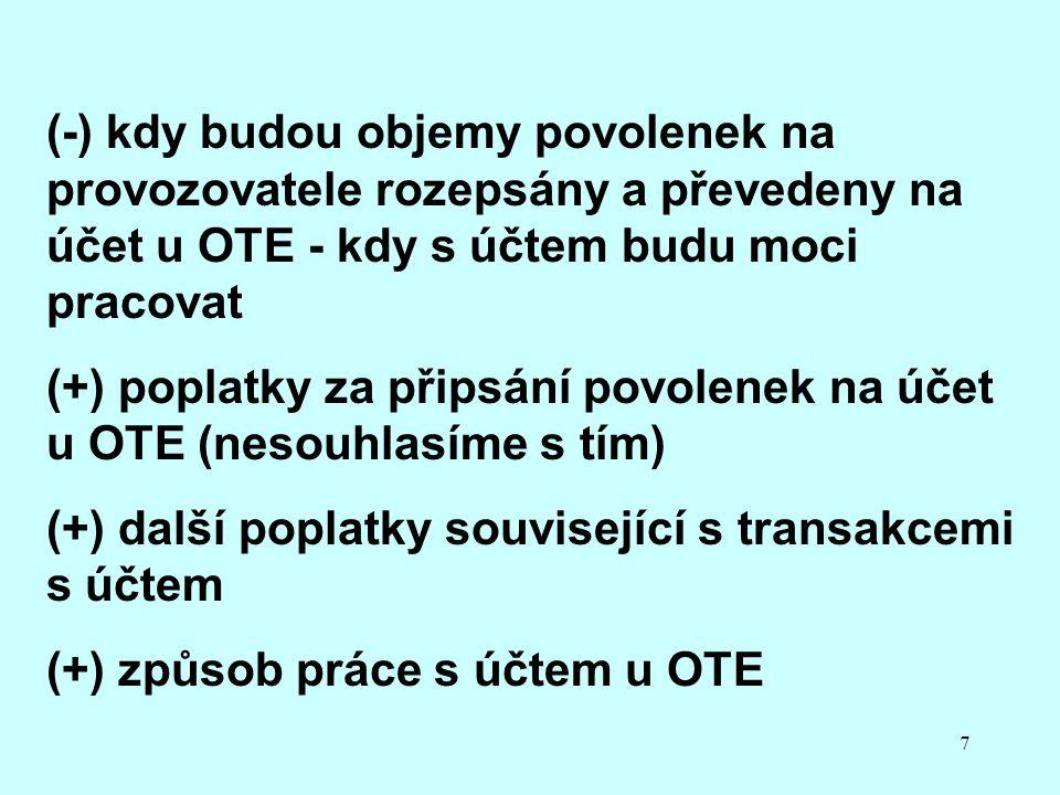 7 (-) kdy budou objemy povolenek na provozovatele rozepsány a převedeny na účet u OTE - kdy s účtem budu moci pracovat (+) poplatky za připsání povolenek na účet u OTE (nesouhlasíme s tím) (+) další poplatky související s transakcemi s účtem (+) způsob práce s účtem u OTE