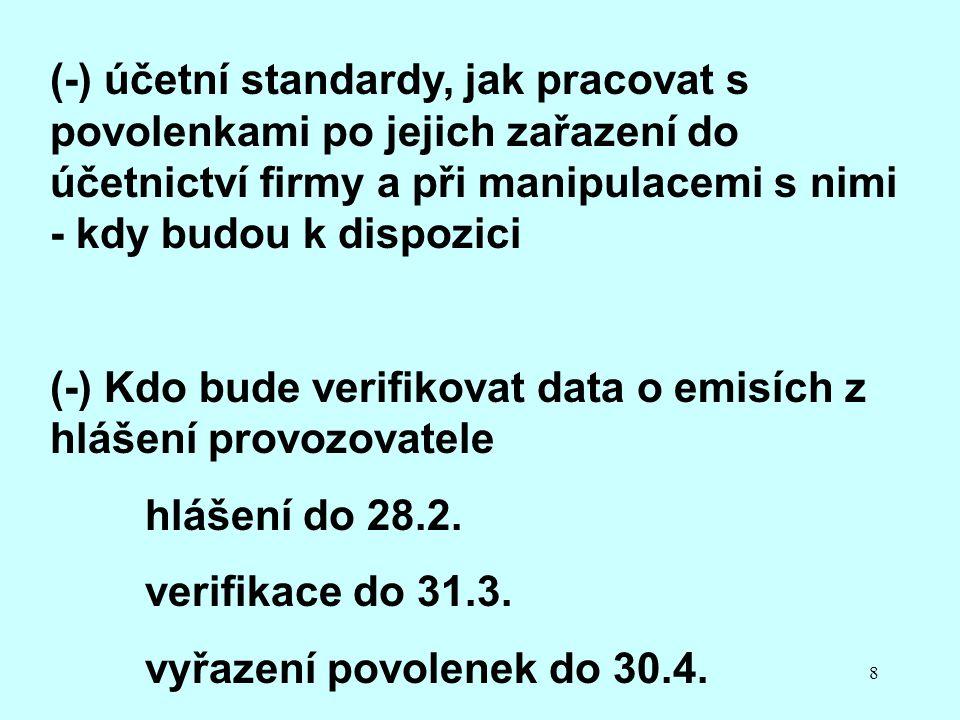 8 (-) účetní standardy, jak pracovat s povolenkami po jejich zařazení do účetnictví firmy a při manipulacemi s nimi - kdy budou k dispozici (-) Kdo bude verifikovat data o emisích z hlášení provozovatele hlášení do 28.2.