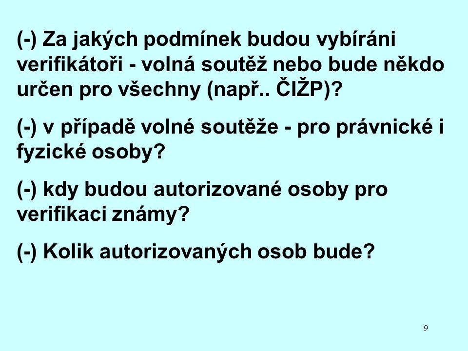 9 (-) Za jakých podmínek budou vybíráni verifikátoři - volná soutěž nebo bude někdo určen pro všechny (např.. ČIŽP)? (-) v případě volné soutěže - pro