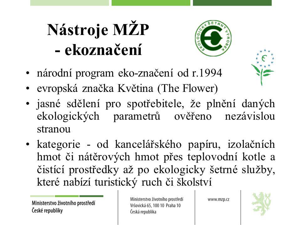 Nástroje MŽP - ekoznačení národní program eko-značení od r.1994 evropská značka Květina (The Flower) jasné sdělení pro spotřebitele, že plnění daných ekologických parametrů ověřeno nezávislou stranou kategorie - od kancelářského papíru, izolačních hmot či nátěrových hmot přes teplovodní kotle a čistící prostředky až po ekologicky šetrné služby, které nabízí turistický ruch či školství