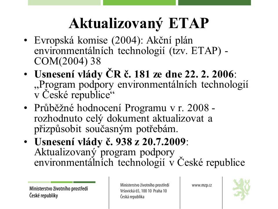 Nástroje MŽP - Resortní program výzkumu 2007 - 2011 Environmentálním technologiím věnován jeden ze čtyř podprogramů, jehož cílem je dosáhnout: lepších užitných vlastností obnovitelných zdrojů energie (OZE) využití energetických rostlin a dalších vhodných zdrojů pro výrobu pevných biopaliv zvýšení účinnosti OZE snížení spotřeby primárních energetických zdrojů a snížení emisí skleníkových plynů.